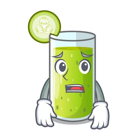 Afraid delicious cucumber juice on table cartoon