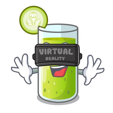 Virtual reality delicious cucumber juice on table cartoon Standard-Bild - 109654705