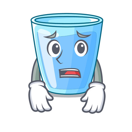 Afraid water glass isolated on the mascot vector illustration