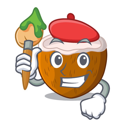 Artist character coconut of pieces in market vector illustration