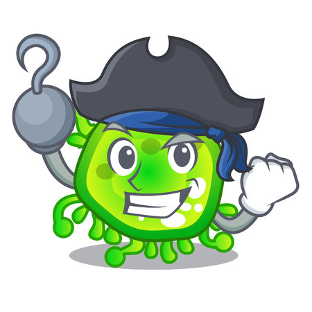 Pirate character microbe bacterium on the palm Illustration