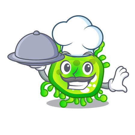 Chef with food cartoon microbes on the humans hand vector illustration 向量圖像