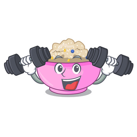 Fitness character a bowl of oatmeal porridge vector illustration  イラスト・ベクター素材