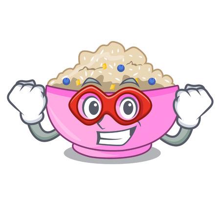 Super hero traditional porridge rice in bowl cartoon Illustration