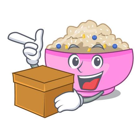 With box traditional porridge rice in bowl cartoon