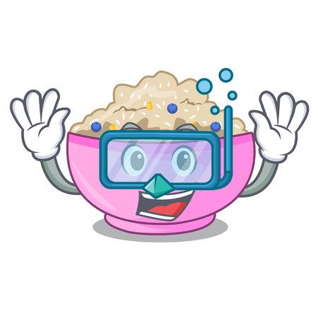 Diving traditional porridge rice in bowl cartoon vector illustration Illustration
