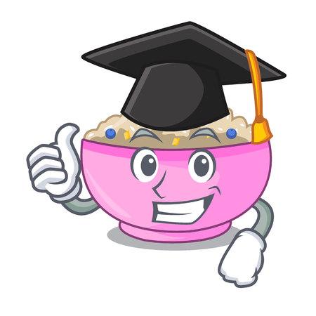 Graduation traditional porridge rice in bowl cartoon vector illustration