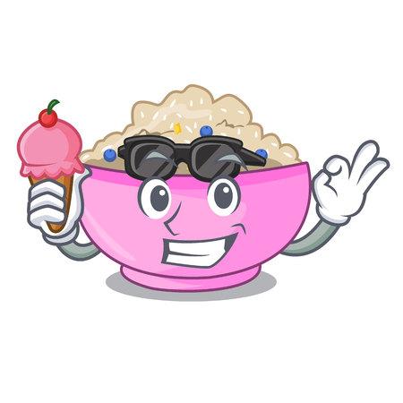With ice cream traditional porridge rice in bowl cartoon vector illustration