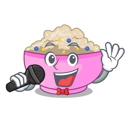 Singing porridge breakfast in cartoon dining table vector illustration Stockfoto