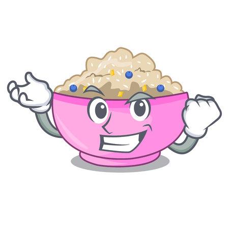 Successful traditional porridge rice in bowl cartoon vector illustration