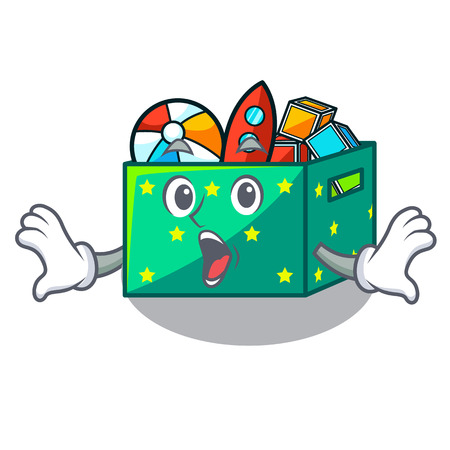 Surprised kids toys in the cartoon box