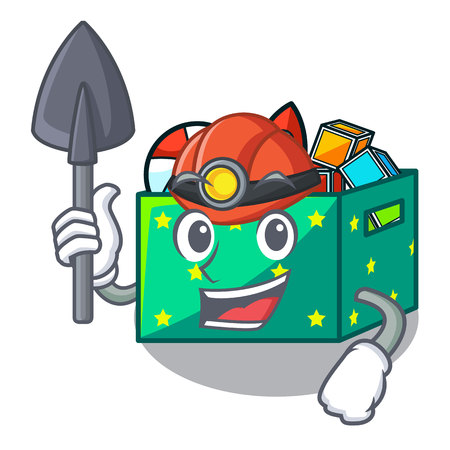 Miner kids toys in the cartoon box Illustration