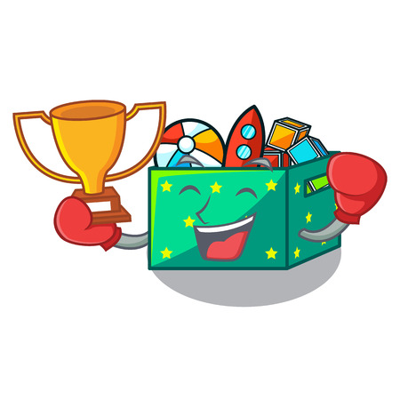 Boxing winner children toy boxes isolated on mascot Stockfoto