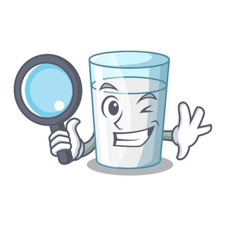 Detective protein rich milk in cartoon glass Standard-Bild - 109772307