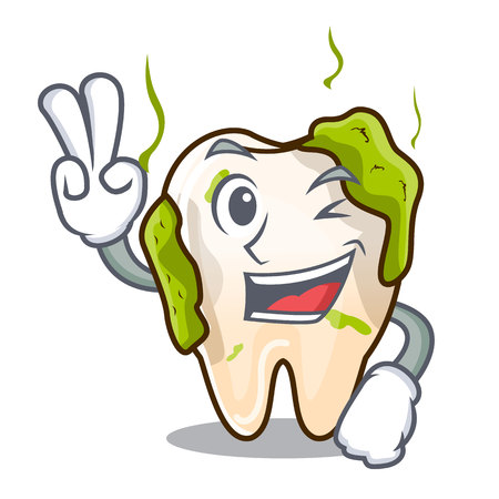 Two finger cartoon unhealthy decayed teeth in mouth vector illustration