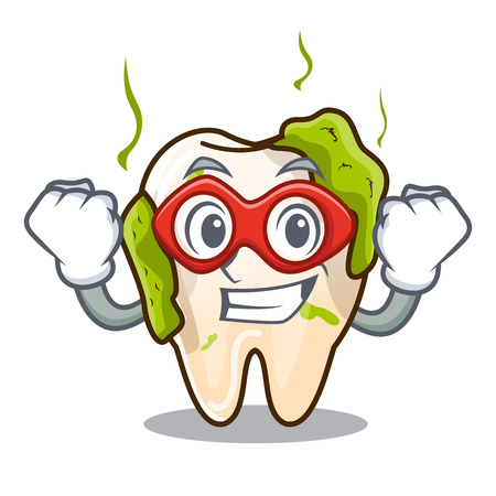 Super hero cartoon unhealthy decayed teeth in mouth Vectores