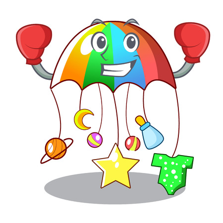 Boxing character hanging toy attached to cot vector illustration
