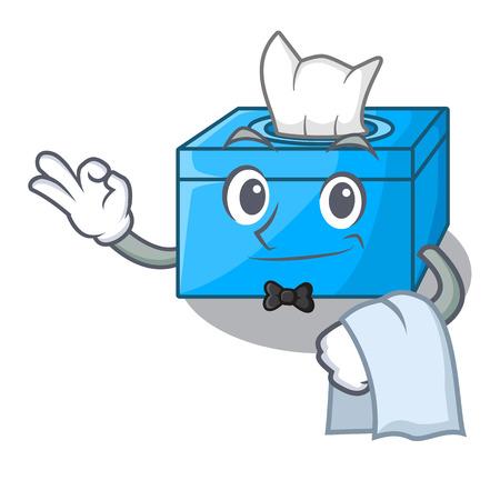 Waiter cartoon tissue box on a sideboard vector illustration