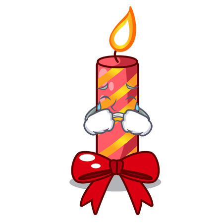 Crying christmas candle combined with pita cartoon vector illustration