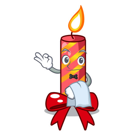 Waiter christmas candle combined with pita cartoon vector illustration