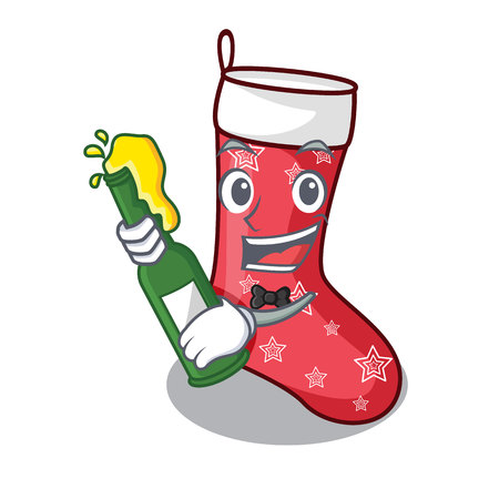 With beer cute christmas socks isolated on mascot vector illustration Stock Photo