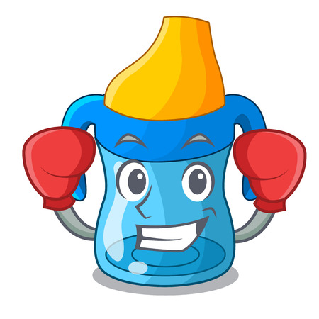 Boxing character baby training cup with handles vector illustration
