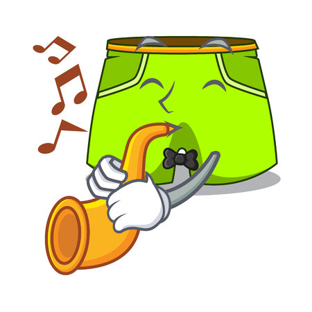 With trumpet cartoon shorts style for the swimming vector illustration
