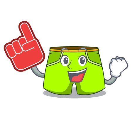 Foam finger fashion short pants isolated on mascot vector illustration