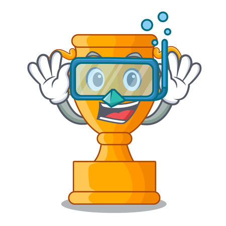 Diving cartoon trophy cup with star on cyan vector illustration
