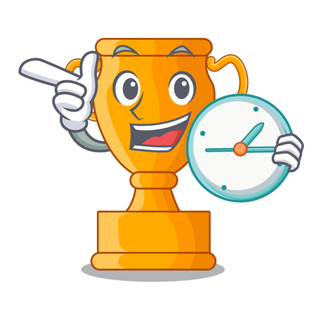With clock cartoon trophy cup with star on cyan vector illustration