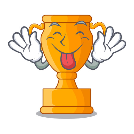 Tongue out golden trophy cup isolated on mascot