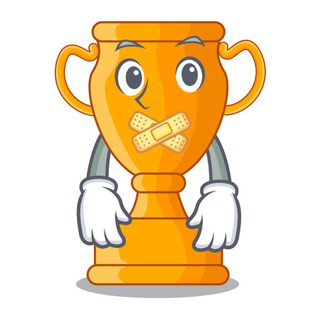 Silent golden trophy cup isolated on mascot
