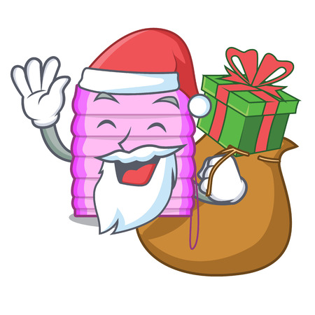 Santa with gift window with blinds isolated on mascot vector illustration Illusztráció