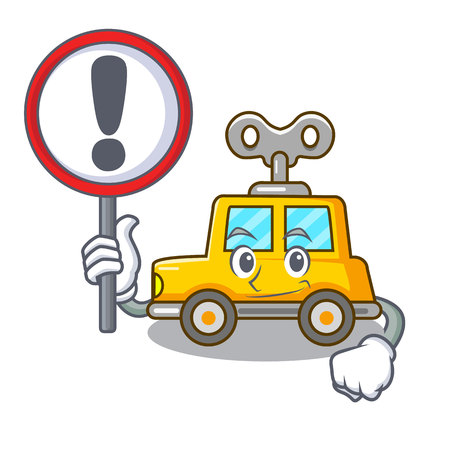 With sign character clockwork car for toy children vector illustration