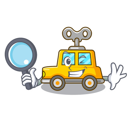 Detective cartoon clockwork toy car in table vector illustration  イラスト・ベクター素材