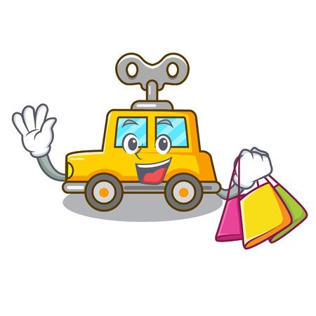 Shopping cartoon clockwork toy car in table vector illustration
