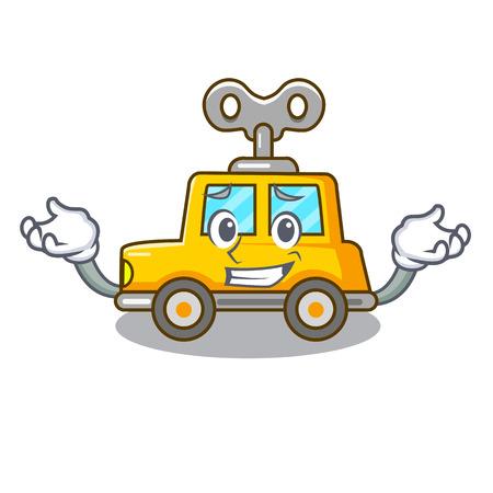 Grinning cartoon clockwork toy car in table vector illustration 版權商用圖片