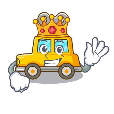 King clockwork toy car isolated on mascot vector illustration