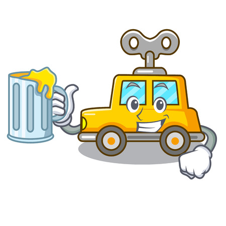 With juice cartoon clockwork toy car for gift vector illustration