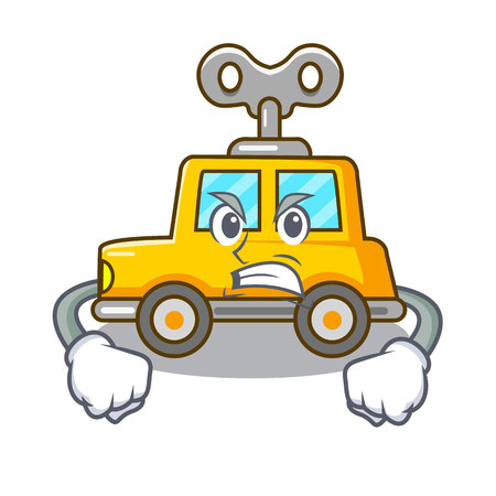 Angry cartoon clockwork toy car for gift vector illustration