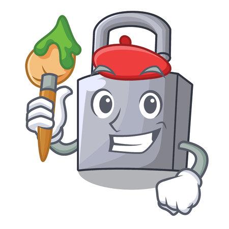 Artist character padlock on the wooden door vector illustration