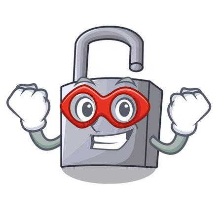 Super hero cartoon unlocked padlock on the table