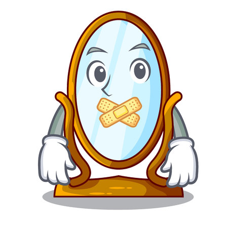 Silent big dressing mirror isolated on mascot