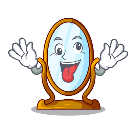 Crazy big dressing mirror isolated on mascot