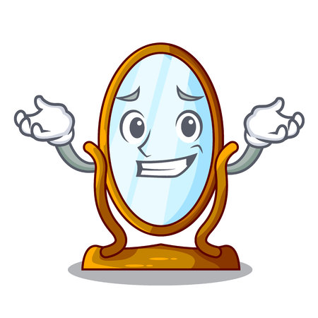 Grinning big cartoon mirror in wooden frame