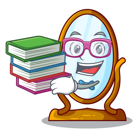 Student with book big dressing mirror isolated on mascot