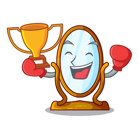 Boxing winner big dressing mirror isolated on mascot Vetores