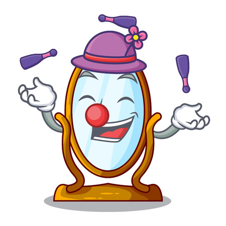 Juggling big dressing mirror isolated on mascot