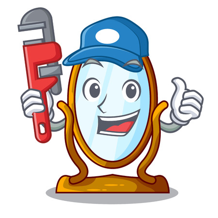 Plumber big dressing mirror isolated on mascot