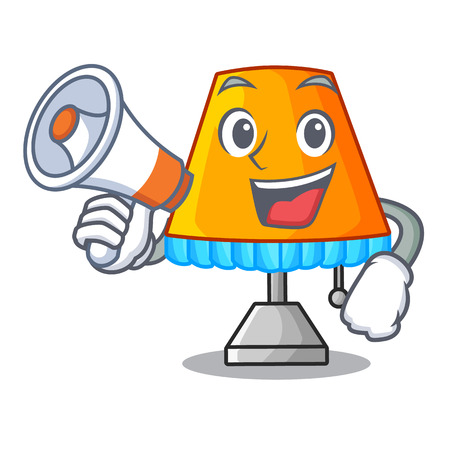 With megaphone character table office lamp in indoor vector illustration Illustration